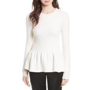 Ted Baker Peplum Sweater Mereda Cable Knit Cream 1